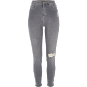 Guter Preis River Island Damen Graue High Rise Party - Jeggings im Used - Look U33d6686