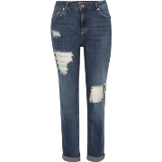 Groß River Island Damen Ashley – Boyfriend - Jeans in mittelblauer Waschung M89x9396