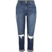 Mode River Island Damen Ashley – Dunkelblaue Boyfriend - Jeans im Used - Look G40p8435