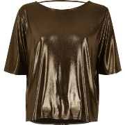 Einfach River Island Damen Kastiges T - Shirt in Bronze B55y3747