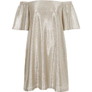 Großhandelspreis River Island Damen Schulterfreies Swing - Kleid in Gold - Metallic O96v2861