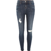 Exklusiv River Island Damen Amelie – Skinny Jeans in dunkler Waschung im Used - Look Y27q5136