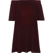 Werbeaktionen River Island Damen Bardot - Swing - Kleid aus Samt in Lila D22o6826