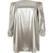Sexy River Island Damen Plus – Bardot - Swing - Kleid in Silber - Metallic Q32q4012
